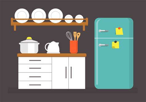 Clipart Vector by Flat Kitchen Vector Illustration Free Vector