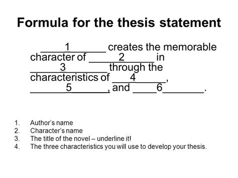 Thesis Statement Template Character Analysis Thesis Statement Template