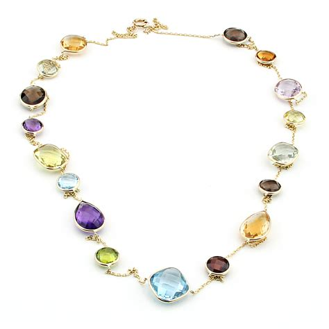 multi gemstone necklace 14k yellow gold fancy cut multi colored and multi shaped