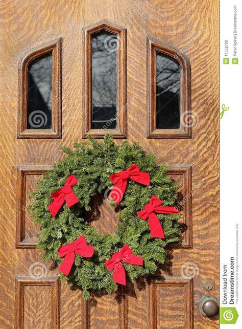 front door  christmas decorations stock image image