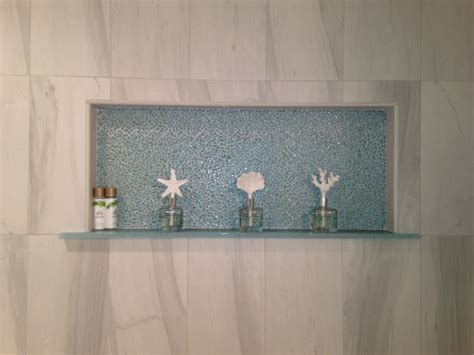 recessed shower shelf with tile backing my style
