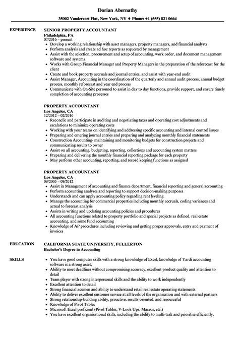 property accountant resume samples velvet jobs