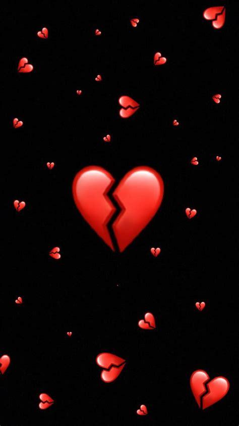 hintergrund broken heart brokenheart red cute emoji