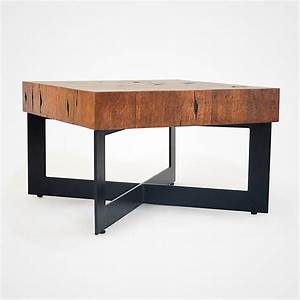 reclaimed wood mosaic coffee table black metal base 006 With black reclaimed wood coffee table