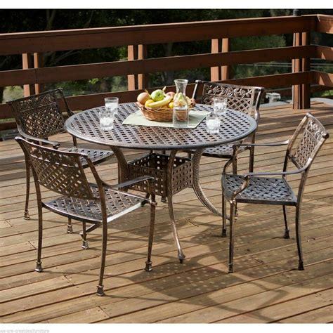 pcs outdoor patio furniture cast aluminum dining set ebay