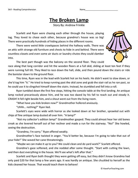 broken lamp reading comprehension worksheet  fun