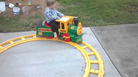 Toddler Riding Toy Train, Crash, Funny, Tips Over