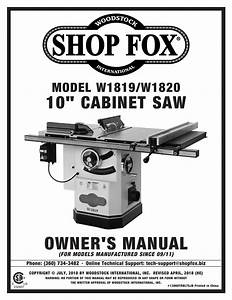 Grizzly W1819 3 Hp Cabinet Table Saw Owner Manual