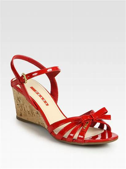 Wedge Sandals Bow Cork Prada Leather Rosso