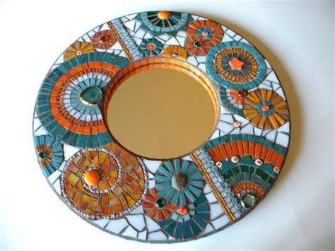 mosaic decor orange teal mosaic mirror home decor wedding gift miami
