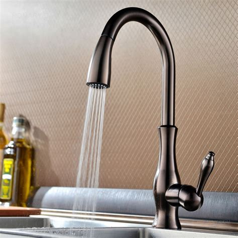 single kitchen faucet with pull out spray tracier gooseneck single kitchen faucet with pull out