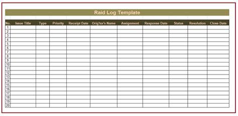 raid log template raid log template free log templates