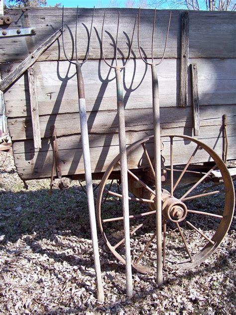 Antique Tine Hay Forks Pitchforks Old Vintage Farm