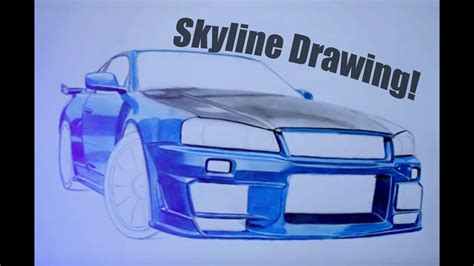 nissan skyline drawing step by step nissan skyline gtr34 amazing drawing autozeichnung