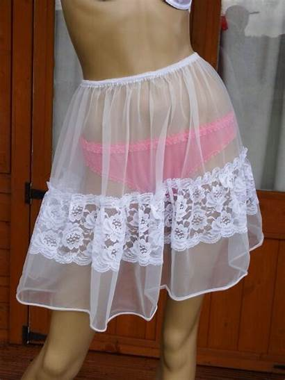 Petticoat Nylon Thru Handmade Xl Exquisite W86
