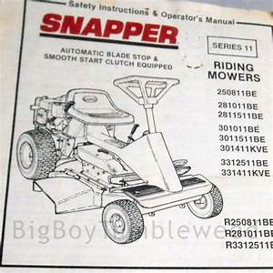 Vintage Owners Manual 1991 Snapper Riding Lawn Mower Be