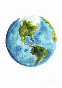 Planet Earth, South America Illustration, Watercolor World