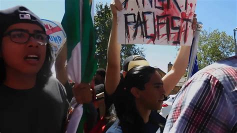 Mexican Flag Waving Protesters Disrupt Peaceful Trump ...