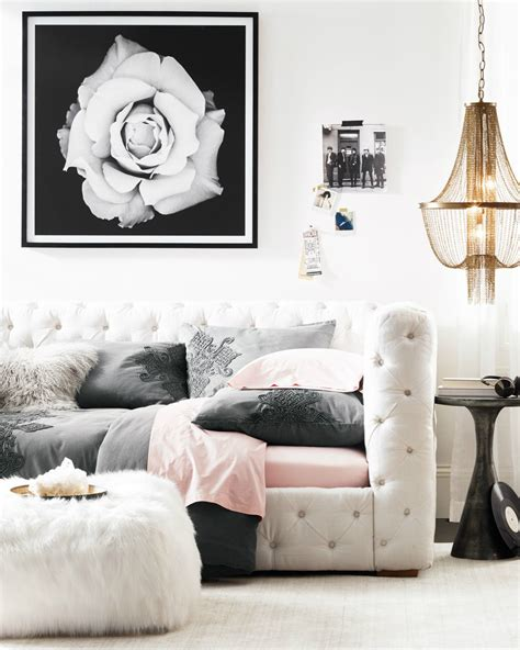 elegant tufted daybed edgy accents glam style   girl