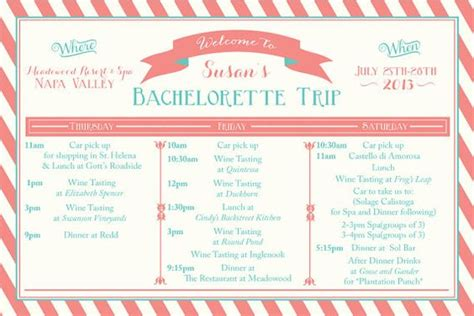 Bachelorette Weekend Itinerary By Oohlalovely On Etsy 22 Printable Bachelorette Weekend Itinerary Birthday Weekend