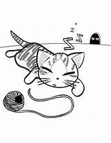 Kedi Coloring Yarn Ball Boyama Cat Resmi Sablonlari Popular Template sketch template