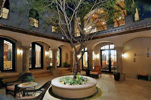 Courtyard, Mediterranean, Style, House, Plans, Trendy, Spanish, Colonial, With, Luxury, Pretty, Kerala