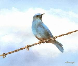 Bird On A Wire Painting By Arline Wagner