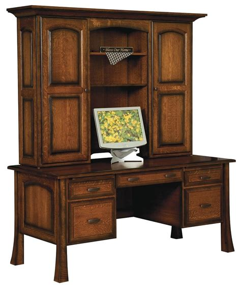wood desk with hutch amish executive computer file desk hutch solid wood home