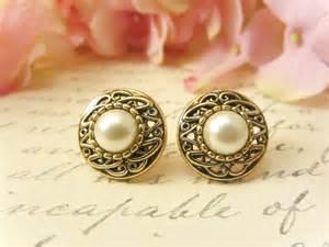 earring jackets for studs antique gold pearl earrings vintage button earrings