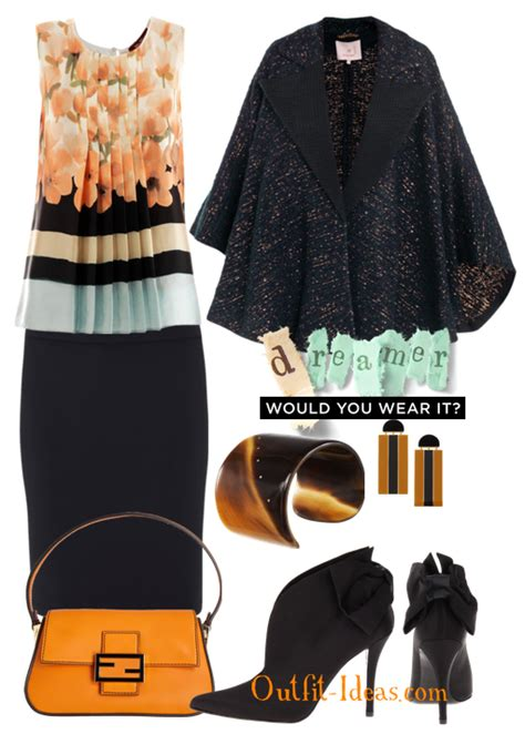 Black and orange outfit-White pink and green floral print Top Outfit