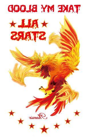 tatouage temporaire phoenix en feu kolawi