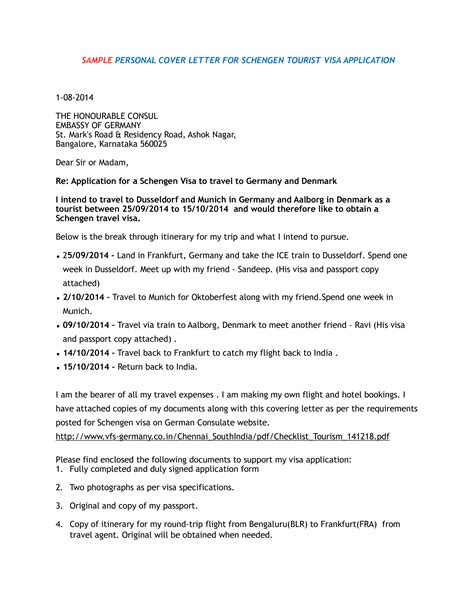 visa application cover letter templates