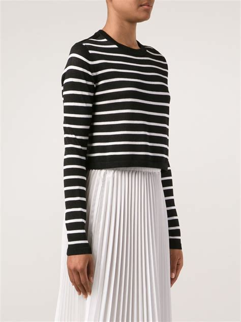 cropped black sweater tibi black striped cropped sweater lyst