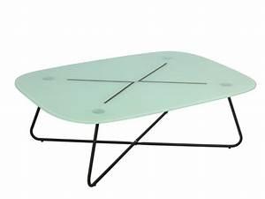 Table Basse Verre Trempé : table basse abylane verre tremp pieds m tal noir ~ Teatrodelosmanantiales.com Idées de Décoration