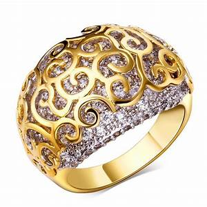 Wedding rings real gold plated with cubic zirconia ring for Real wedding ring