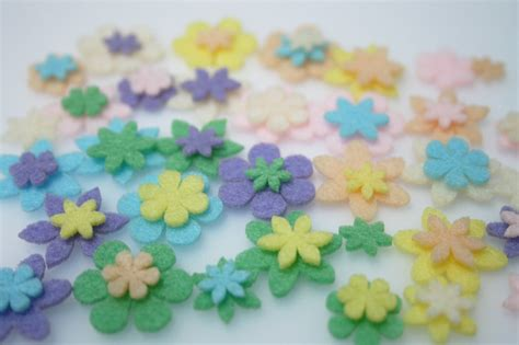 mini felt flowers pastel 63 piece set felt