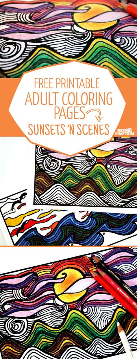 printable coloring pages  adults sunsets  scenes printable adult coloring pages
