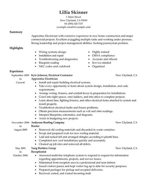 Electrician Apprentice Resume Sle by Electrician Resume Exles Getting A As An
