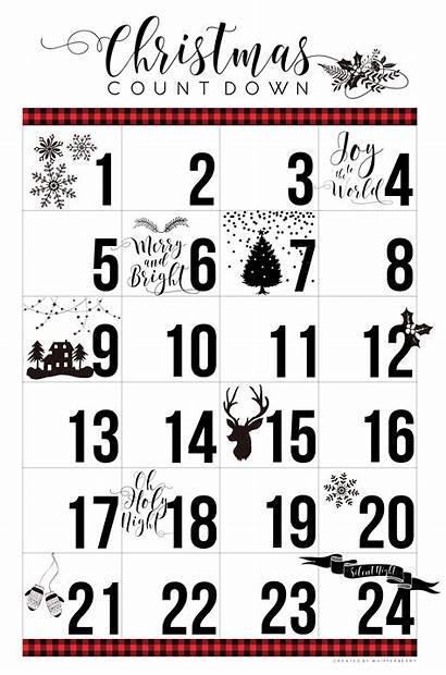 Christmas Countdown Calendar Printable Count Down Whipperberry