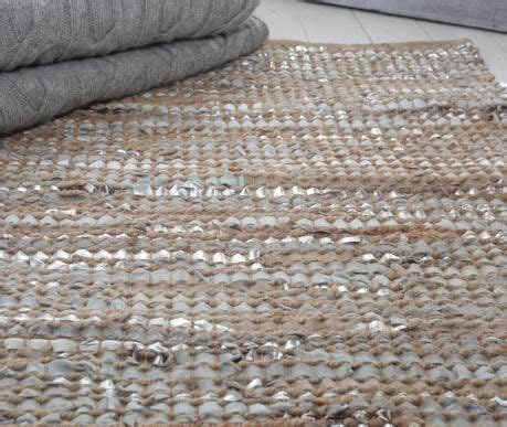 leather  jute rug pale grey  silver  luma