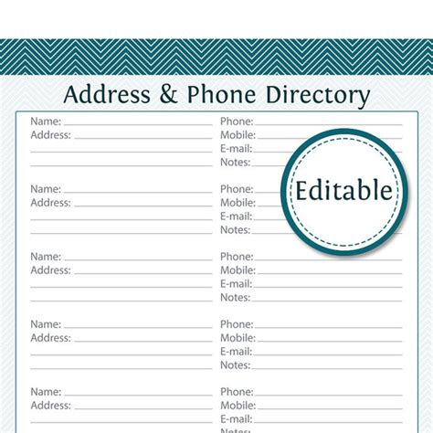 address phone directory fillable printable