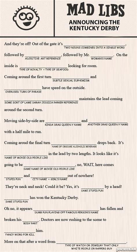 mad libs template the o jays and derby day on