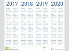 Vector Blauen Kalender Jahrelang 2017, 2018, 2019 Und 2020
