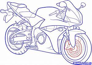 How to Draw a Motorbike, Step by Step, Motorcycles ...