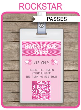 rockstar party backstage passes template party favors