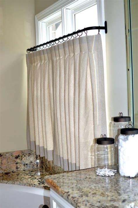 pinch pleat cafe curtains  bathroom
