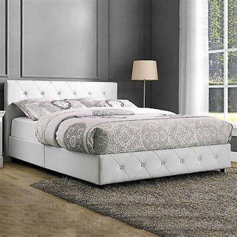Upholstered Bed Frame Queen White Platform Furniture