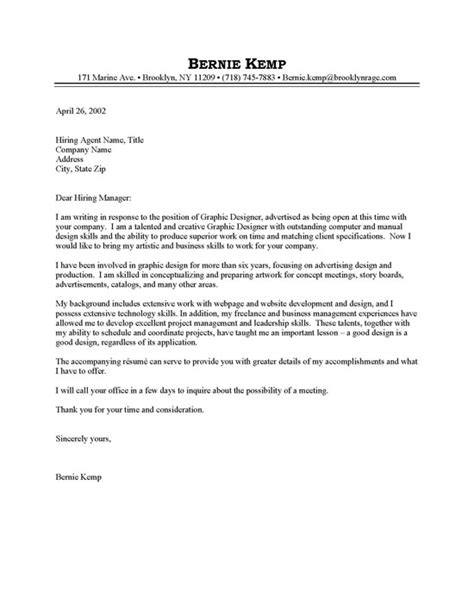 Cover Letter For Graphic Designer Graphic Designer Cover Letter Sle Resume Cover Letter