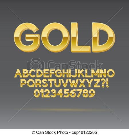 gold lettering font vector of gold font and numbers eps 10 vector editable 29929