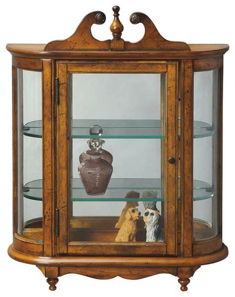 curio hutch westbrook wall mounted curio cabinet vintage oak finish